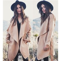 Women's Lapel Khaki Wool Coat Long Windbreaker