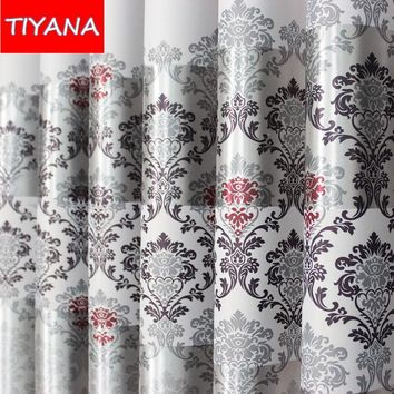 Eco-friendly Window Curtains For Living Room Grey Floral Printing Cortinas For Bedroom Finished Blinds Blackout Fabric AG176&30