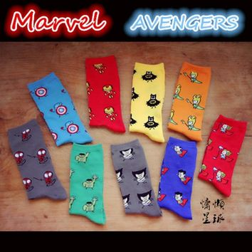 Batman Dark Knight gift Christmas Cartoon marvel DC Avengers men socks Captain America Batman iron man Knee-high warm stitching pattern antiskid happy anime sock AT_71_6