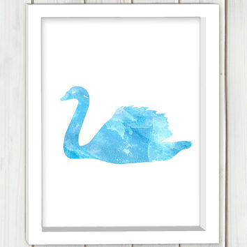 Swan printable art,DIGITAL FILE,blue watercolor swan, wall art, home decor,art print,instant download