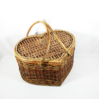 Vintage Large Heart Shaped Woven Basket Picnic Storage