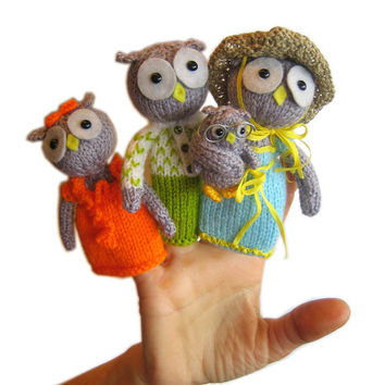 Owls Family Finger Puppets Pdf Email Knit PATTERN