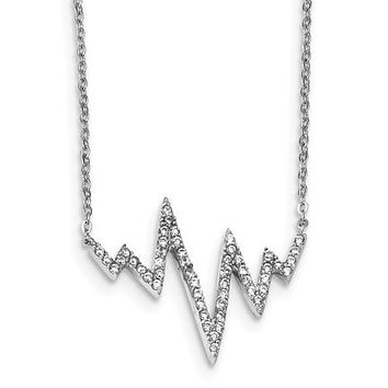 925 Sterling Silver Heartbeat Zig Zag 18in Necklace