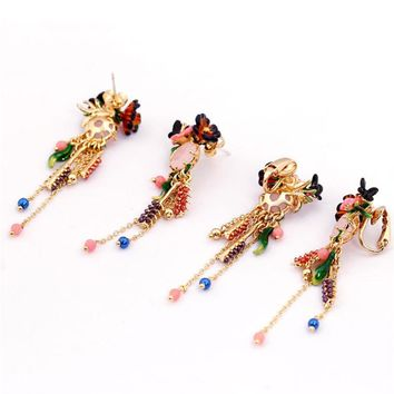 Les Nereides Enamel Glaze Paris Monet Garden Series Romantic Butterfly Flower Gem Tassel Women Earrings