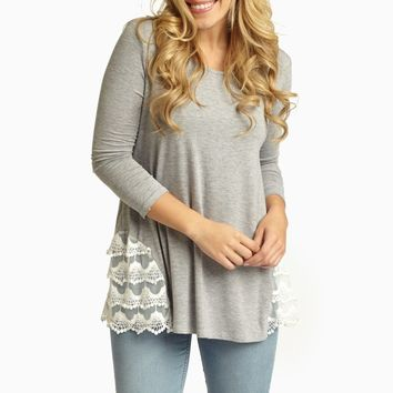 Grey Lace Side 3/4 Sleeve Top