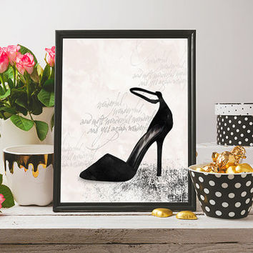 Shoe wall art, shoe print, fashion print, fashion art, shoe art, wall art prints, wall art printable, printable art, glam prints, glam art