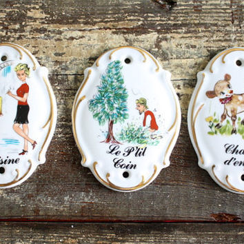Vintage French Hand Painted Room/Door Signs / Porcelain Limoges / Kitchen - Kids Room - Bathroom / Chambre D'Enfants/Cuisine/Le P'tit Coin