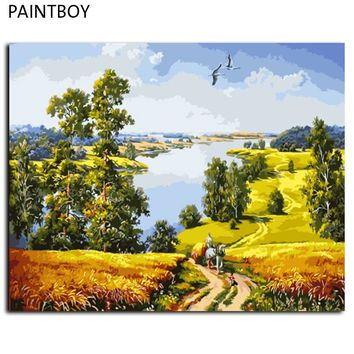 PAINTBOY Framed Landscape DIY Painting By Numbers Wall Art DIY Digital Canvas Oil Painting Home Decor GX9578 40*50cm
