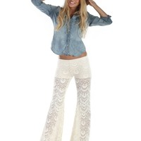 Nightcap CLothing Spanish Fan Lace Pant In Ivory