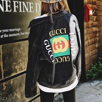 """Gucci"" Women Casual Fashion Multicolor Letter Pattern Print Long Sleeve Cardigan Denim Jacket Coat"