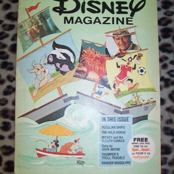 Vintage 1976 February Issue Disney Magazine / Fun Kids Activity Magazine / Retro Walt Disney World Disneyland Memorabilia