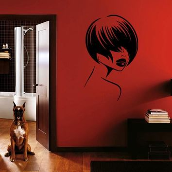 ik263 Wall Decal Sticker Decor beautiful hairstyle girls bed interior
