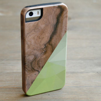 Geometric Wood Print iPhone 5 Case, Printed Wood iPhone 5S Case, Chartreuse Triangle iPhone 4 Case, Galaxy S4 S3