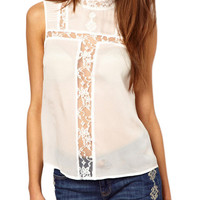 White Sleeveless with Floral Lace Accent Chiffon Top