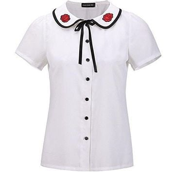 Fancyqube Womens Casual Chiffon Applique Doll Collar Short Sleeve Button Shirt