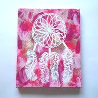 Dream catcher hippie bohemian acrylic canvas painting for trendy girls room, dorm room, or home decor