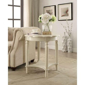 ACME Furniture Fordon End Table in Antique White-82922 - The Home Depot