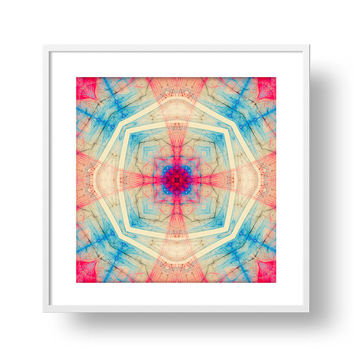 Jerusalem Cross Mandala Art Print - Sacred Geometry - Red Fractal Wall Art, Digital Download | Printable Canvas Print Home Decor