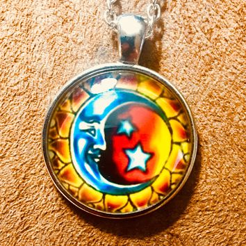 Sun and Moon Glass Cabochon Necklace