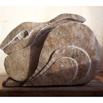 Hare Sculpture, Stone Carving. Hare sculpture, Stone hare ornament, UK, rabbit Statue, hare Carving, Stone Sculpture, Stone Carving, rabbit