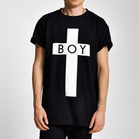 Boy London Boy Cross Print On Black T-Shirt SOS
