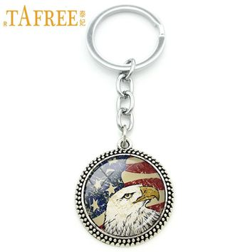 TAFREE Vintage national symbolic keychain bald american flag USA flag art pendant key chain ring holder men women jewelry KC249