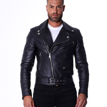 Men's Leather Biker Jacket belted black Perfecto | Made In Italy