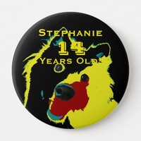 14 Years Old, Happy Yellow Dog Button Pin