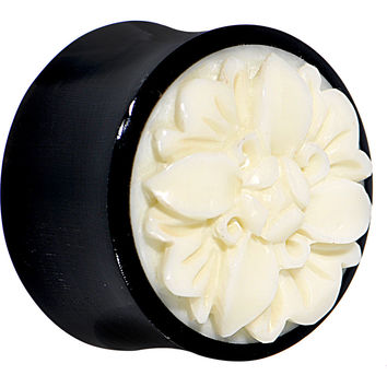 "7/8"" Organic Buffalo Horn White Bone Frasera Flower Saddle Plug"