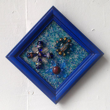 Cobalt Blue Bead Art, Framed Bead Mosaic With Glass Bead Flowers, Small Wall Decor, Blue Home Decor, Miniature Wall Art