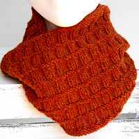 Hand Knitted Cowl, Rust Colored Infinity Scarf, Women's Alpaca and Wool Cowl, Winter Accessory, Soft Scarf, Handmade Snood, Loop Scarf