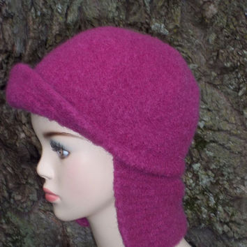 Pattern Knit Earflap Hat Felted