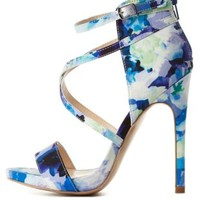 Strappy Floral Print High Heels by Charlotte Russe - Blue Combo