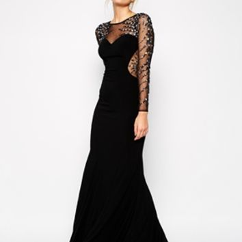 Forever Unique Iris Maxi Dress with Embellished Mesh Sleeves