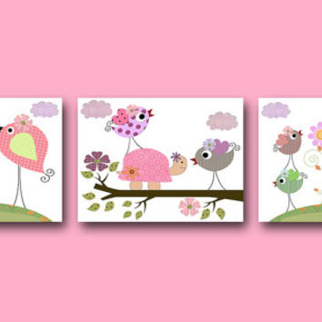 Giraffe Nursery Elephant Nursery Turtle Nursery Baby Girl Nursery Art Kids Art Nursery Wall Art Kid Room Decor Set of 3 8x10 Rose Green Blue