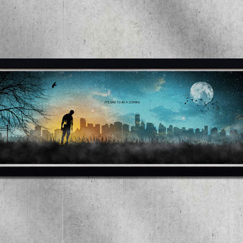 It's sad to be a zombie,print,poster,zombie,dead,city,moon,night,stars,art,artwork,gothic