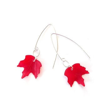 Matte Ruby Red Canadian maple leaf earrings - for Canada's 150th Birthday - with solid sterling silver 925 ear wires #EtsyCA150+ #Canada150
