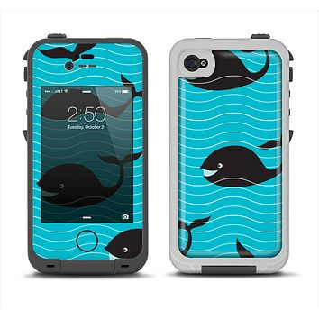 The Teal Smiling Black Whale Pattern Apple iPhone 4-4s LifeProof Fre Case Skin Set
