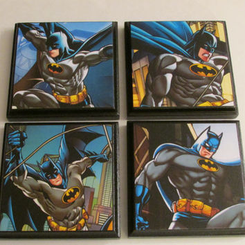 Batman Boys Room Wall Plaques - Set of 4 Batman Boys Room Decor - Batman Wall Signs