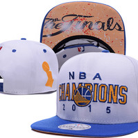 Golden State Warriors 2015 NBA Champions Adidas White Locker Room Snap Back Hat
