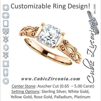 Cubic Zirconia Engagement Ring- The Cora (Customizable Bar-set Asscher Cut featuring Organic Carved Band)
