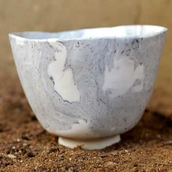 Porcelain Nerikomi Tea Cup - Japanese Style Chawan Tea Bowl - White, Gray and Delicate Brown Spots