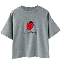 Strawberry Embroidered Short Sleeve T-Shirt