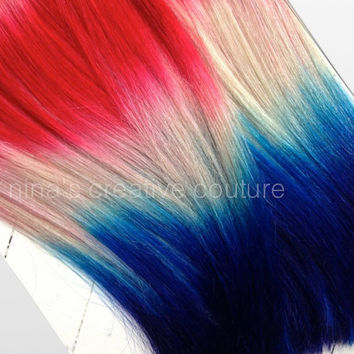 """Patriotic Ombre Hair, Free People Hair, July 4th Hair, July 4th Ombre Hair, Red White and Blue, American Flag Hair, (7) Pieces, 18"""""""