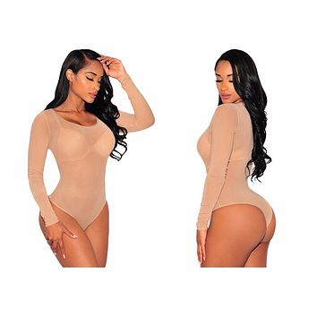 SHEER MESH LONGSLEEVES BODYSUIT