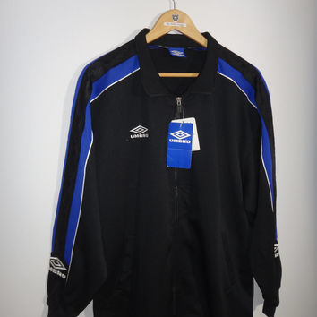 Vintage 1990s Umbro Big Logo Spell out New With Tag Jacket Trainer Zip Up Blue And Black Color