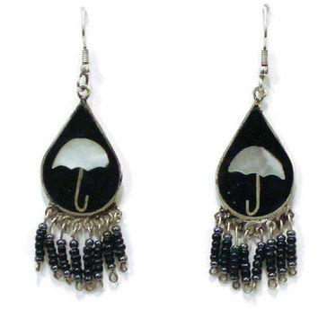 1970's Umbrella Earrings, Beaded Dangle With Black Enamel And Mother Of Pearl Inlay