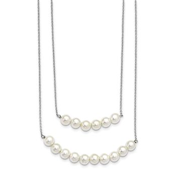 Sterling Silver Majestick 6-7mm White Shell Pearl Multi-strand Necklace