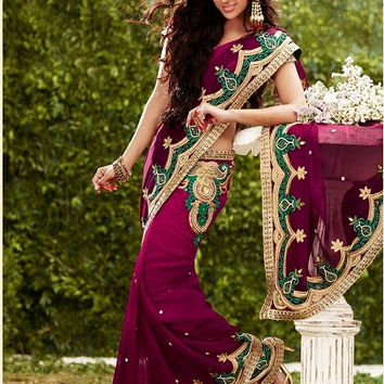 Wine color shaded saree