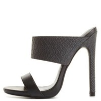 Strappy Snake-Textured Mule Sandals by Charlotte Russe